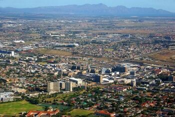 Bellville CBD with Kogelberg Mountains and False Bay, Cape Town\'s Northern Suburbs, Western Cape